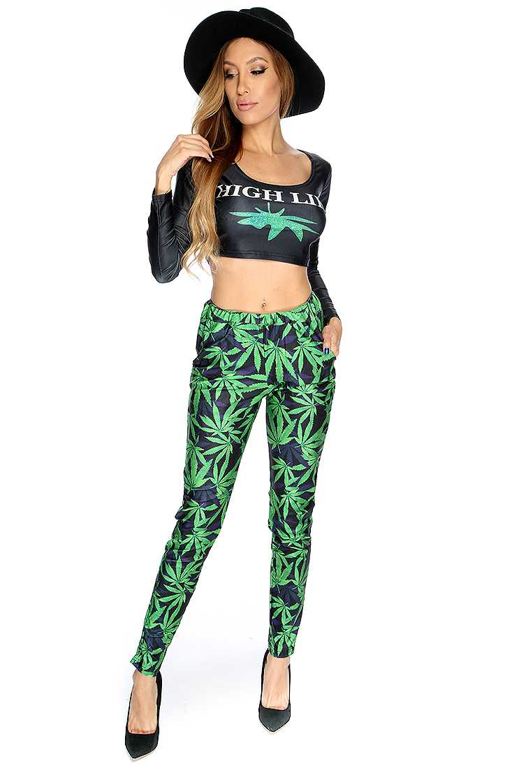 Sexy Black Green Herbal Leaf Print 2 Piece Outfit
