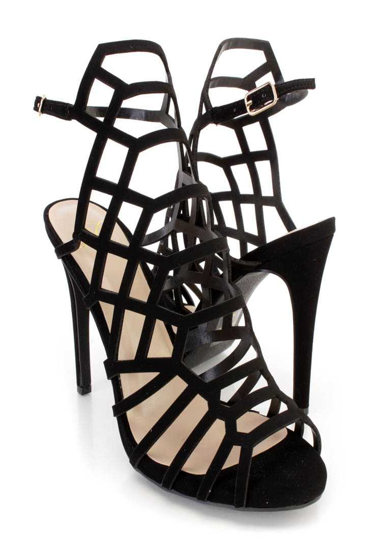 Black Strappy Single Sole High Heels Nubuck Faux Leather