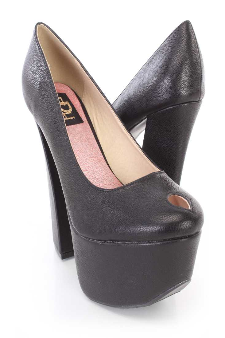 Black Key Hole Chunky Heels Faux Leather
