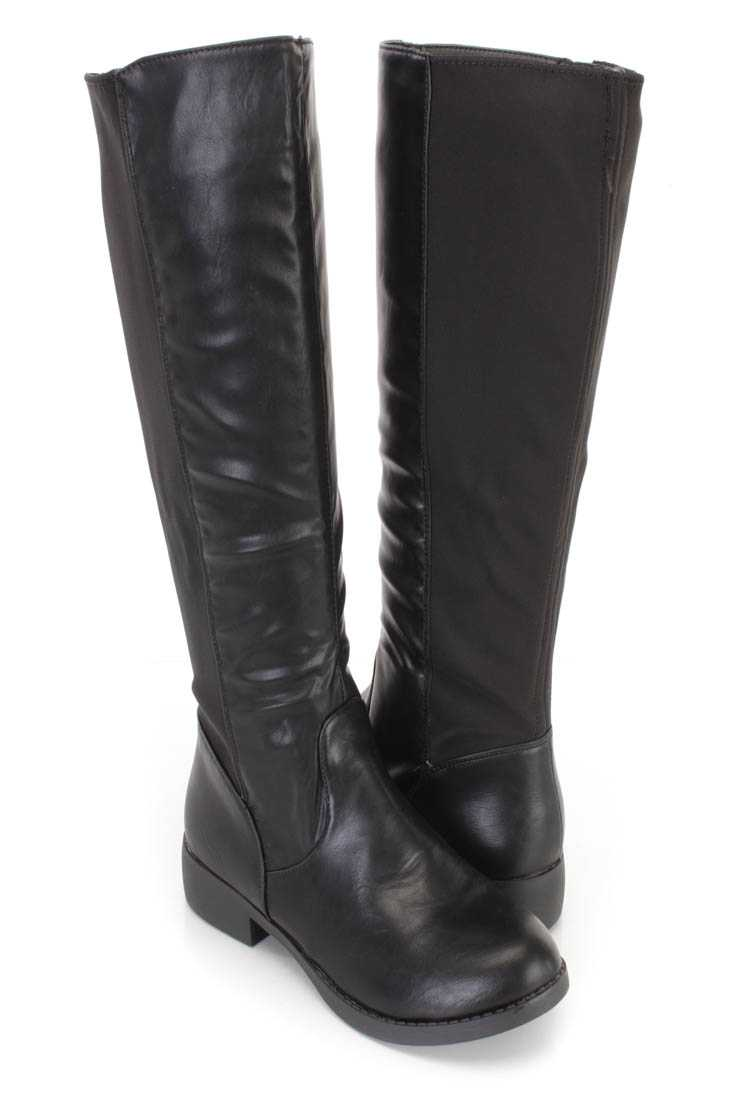 Black Nylon Fabric Riding Boots Faux Leather