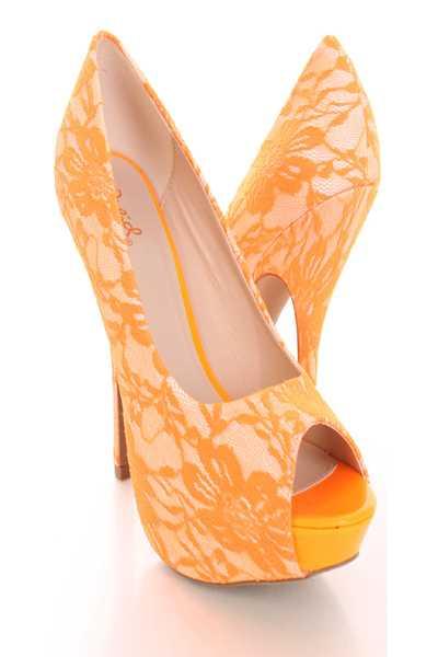 Neon Orange Peep Toe Pump High Heels Lace Fabric