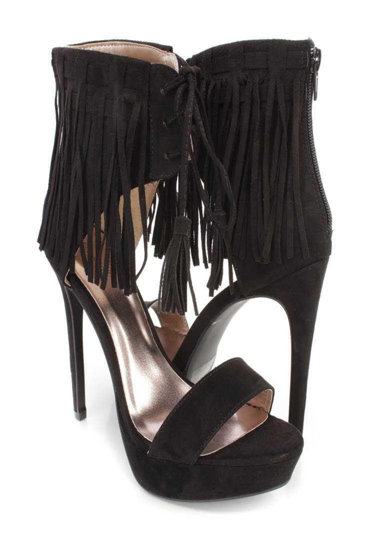 Black Fringe Ankle Cuff Platform High Heels Faux Suede