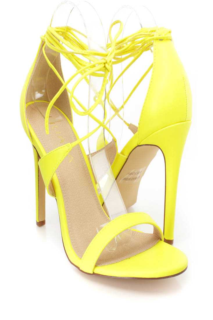 Neon Yellow Lace Up Open Toe Single Sole High Heels Faux Leather