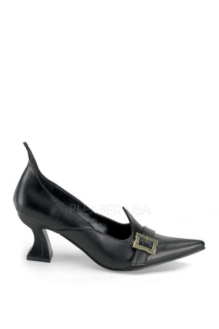Black Witch Pump High Heels Faux Leather