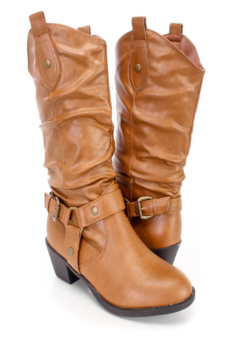 Tan Slouchy Western Style Boots Faux Leather