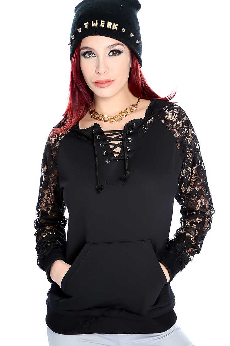 Black Floral Lave Long Sleeve Sweater