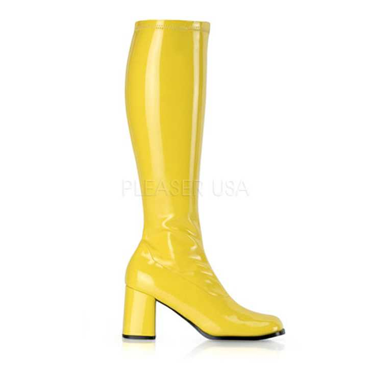 Yellow Stretch Patent Block Heel GoGo Boots