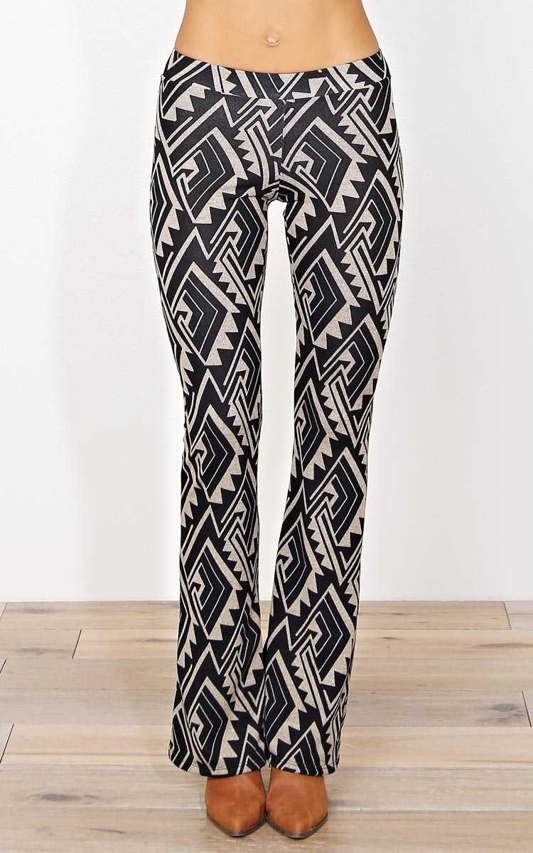 Keira Tribal Knit Palazzo Pants - LGE - Mocha Combo in Size Large by Styles For Less