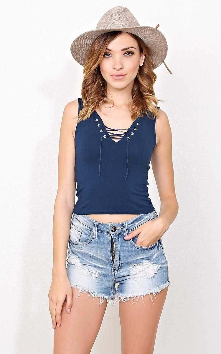 Navy Tied To You Knit Tank - - Navy in Size by Styles For Less