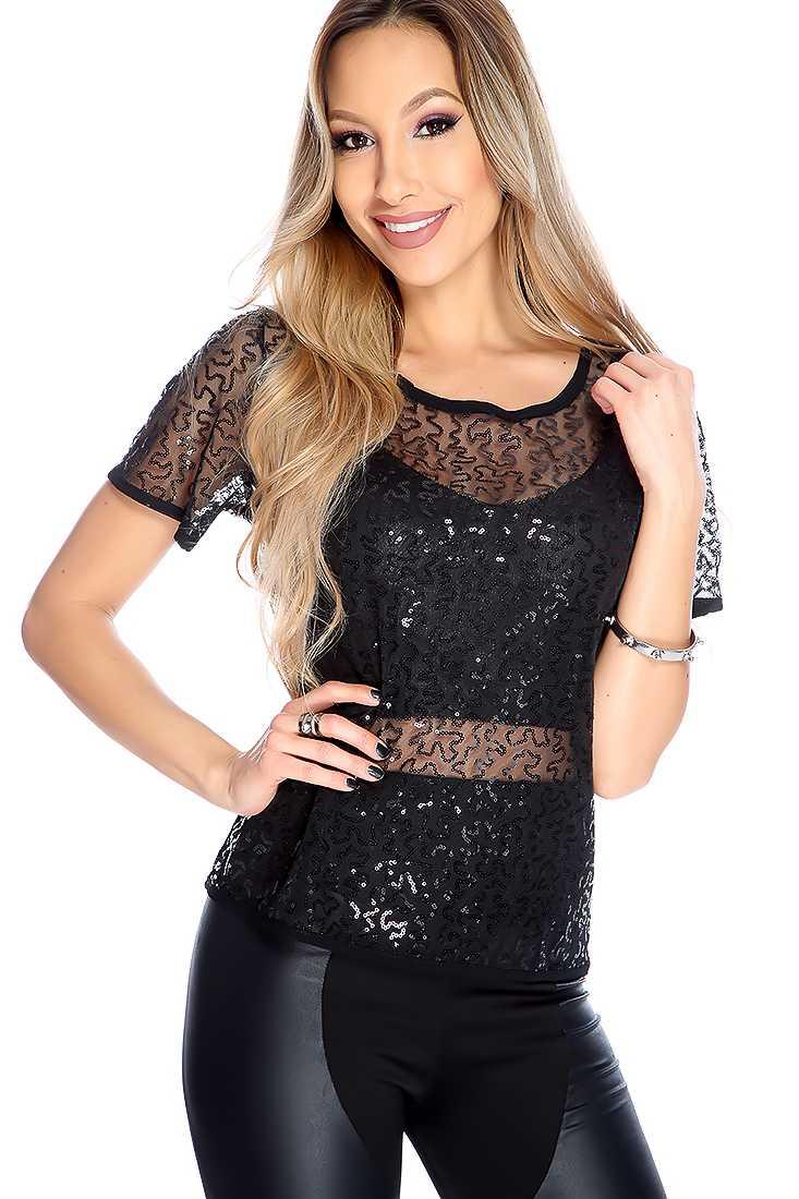 Black Sequins Mesh Short Sleeve Dressy Top