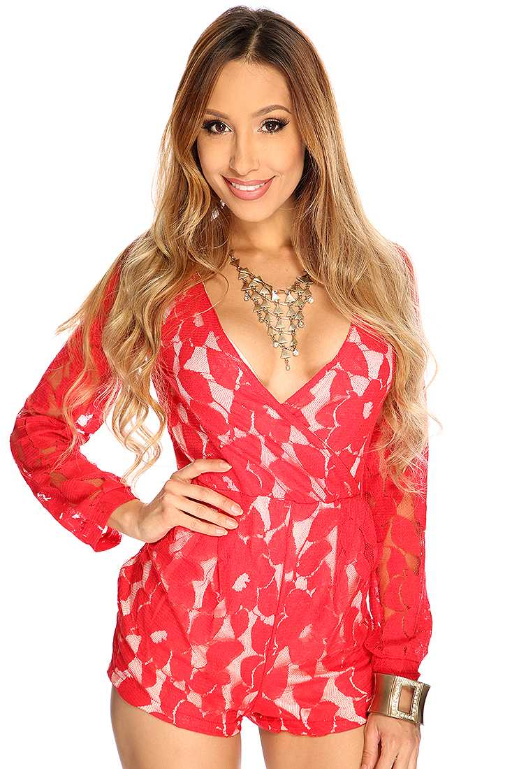 Red Long Sleeve Netted Overlay Long Sleeve Sexy Romper