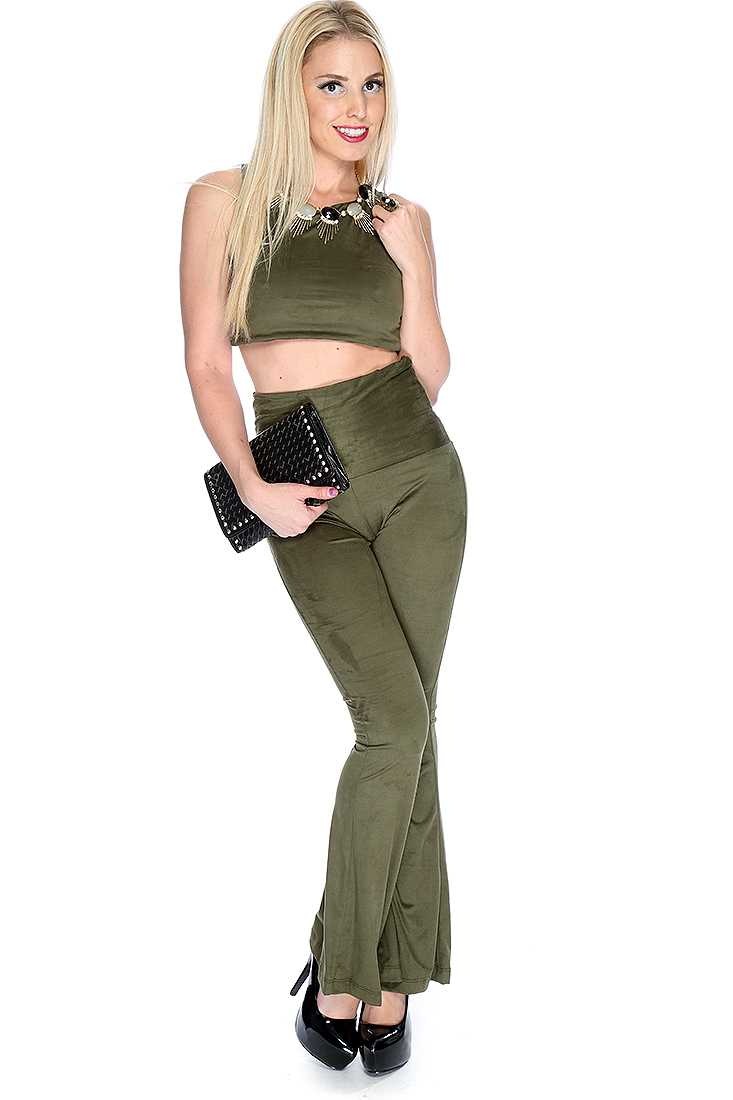 Sexy Olive Sleeveless 2 Piece Outfit