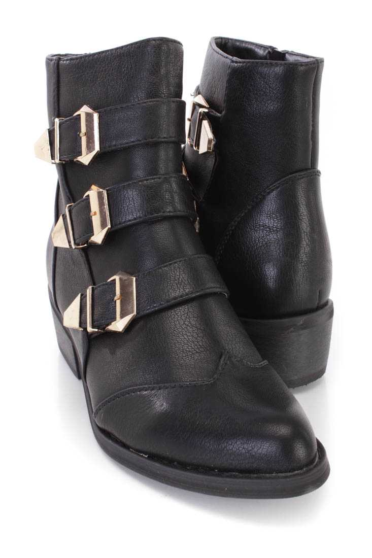 Black Buckle Strappy Ankle Booties Faux Leather