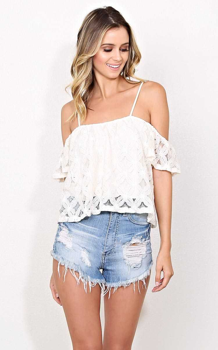 Floral Lace Cold Shoulder Crop Top - - Natural in Size by Styles For Less