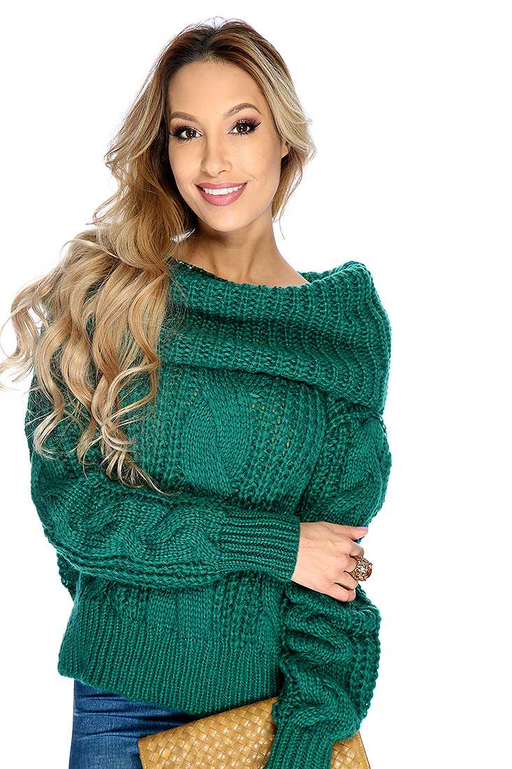 Green Long Sleeve Cable Knit Cowl Neck Oversized Sweater