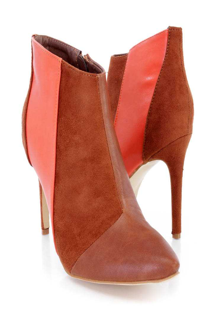 Camel Two Tone Ankle Booties Faux Leather Suede