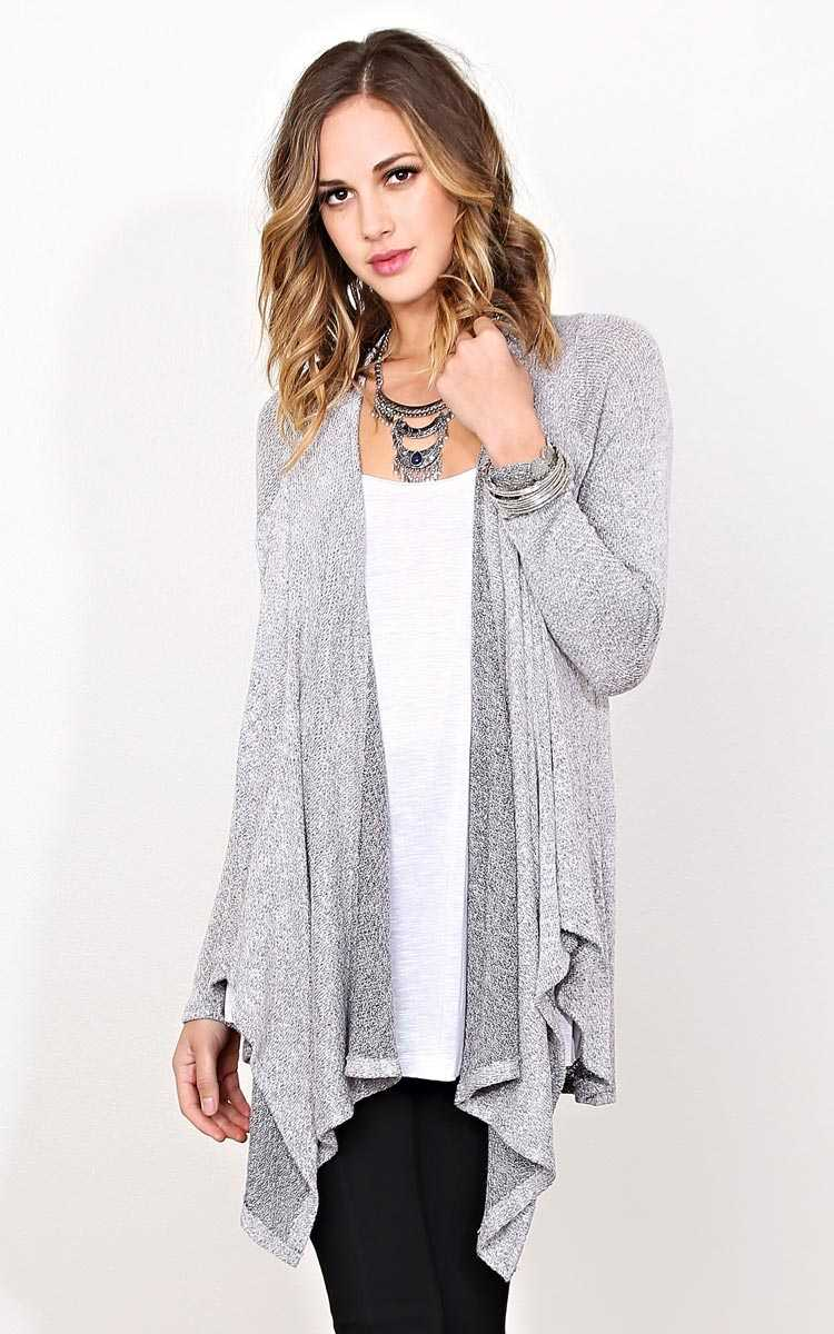 Nadine Drap Front Knit Wrap - SML - Black Combo in Size Small by Styles For Less