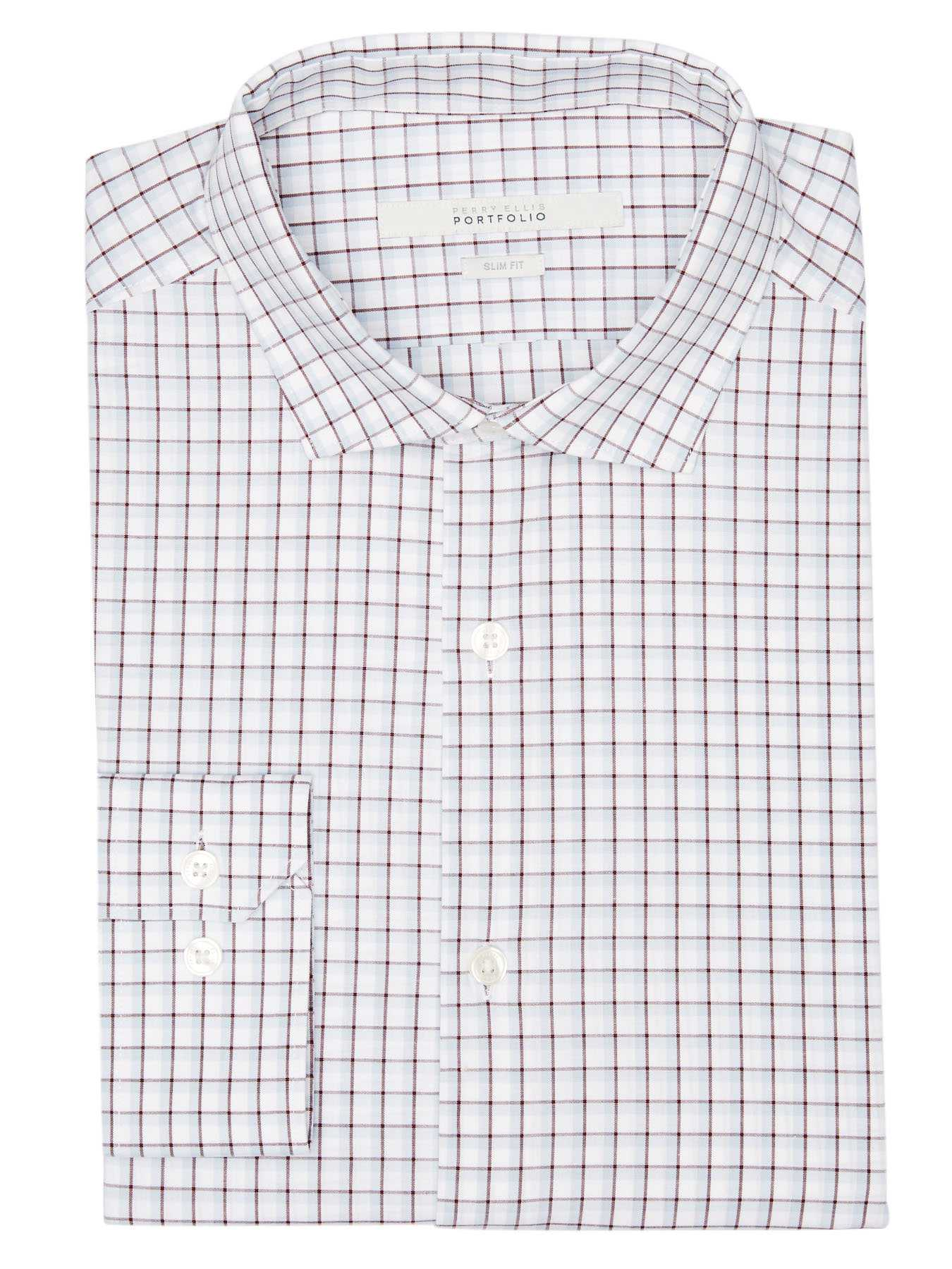 Perry Ellis Slim Fit Shadow Check Dress Shirt
