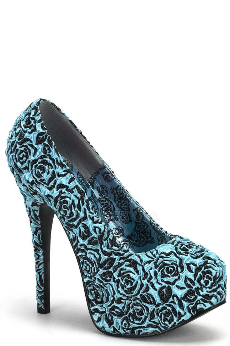 Blue Glittery Floral Pattern Platform Pump High Heels Satin