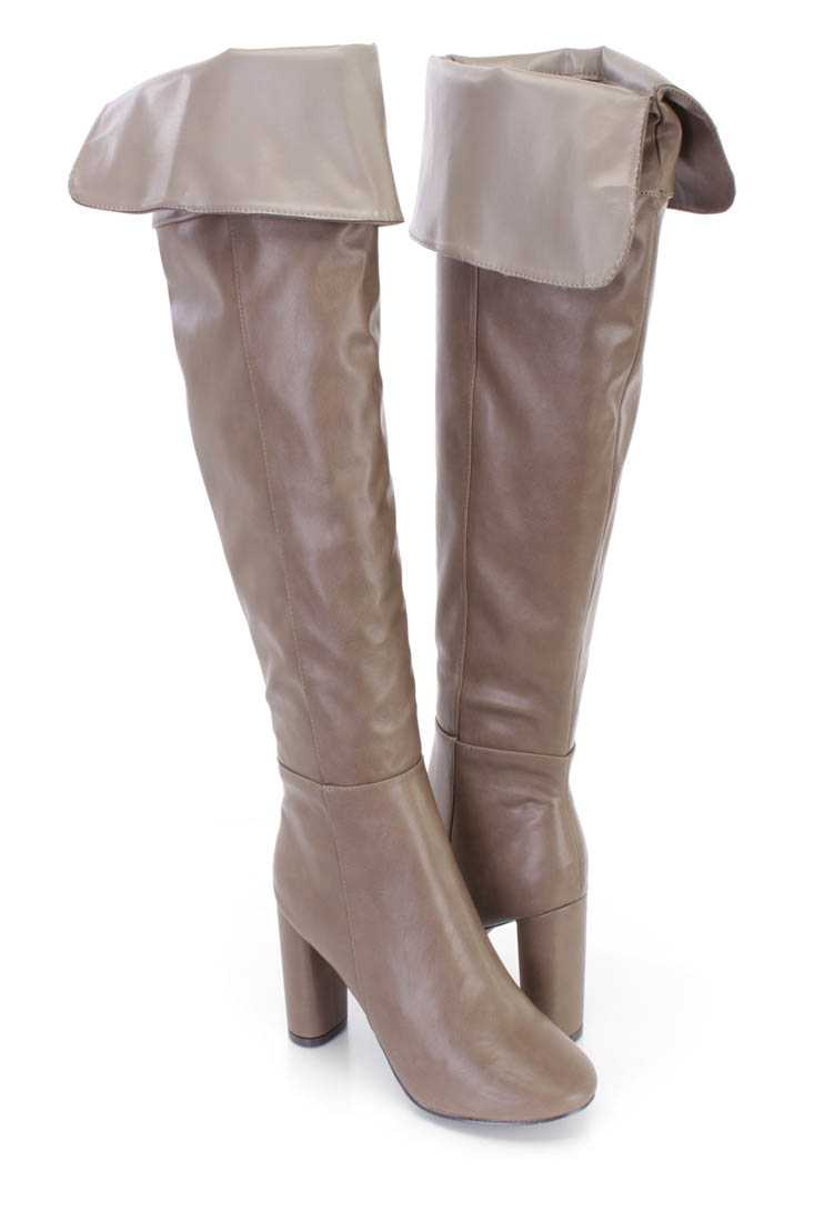 Beige Cuffed Chunky High Heel Boots Faux Leather