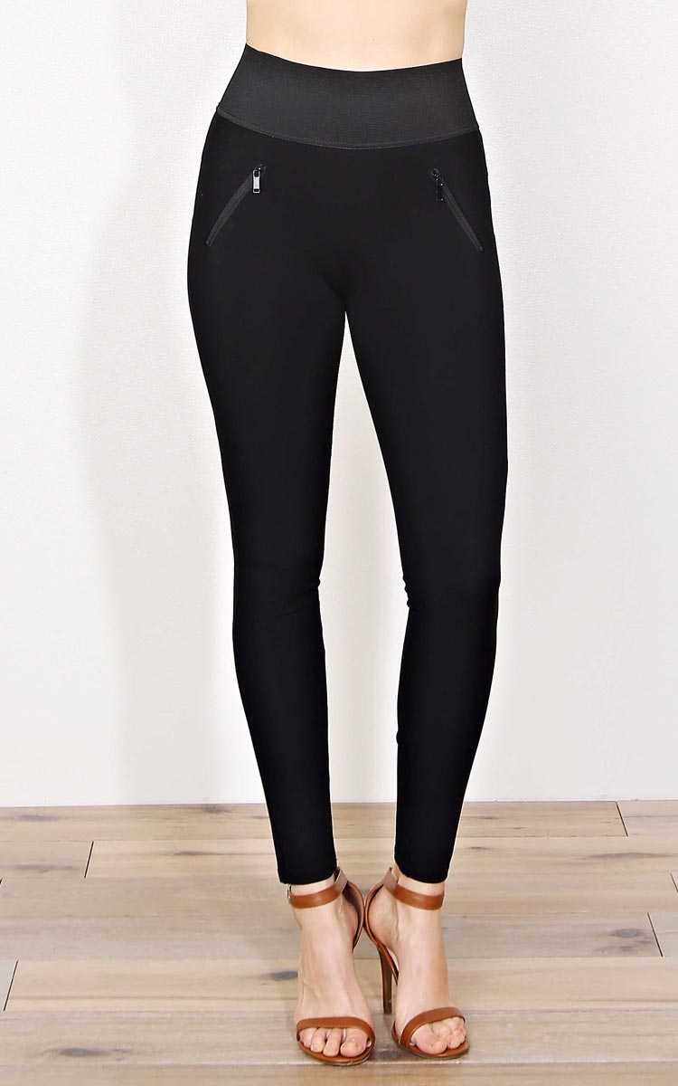 Dirt Road Ponte Knit Leggings - SML - Black in Size Small by Styles For Less