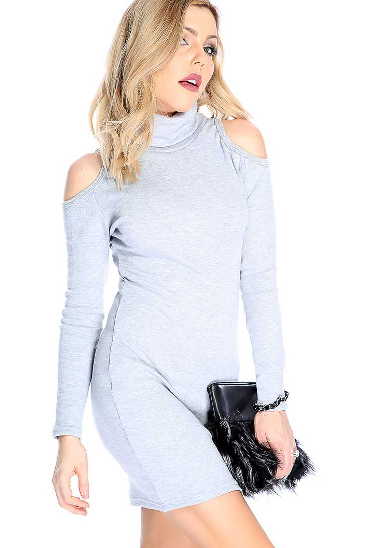 Sexy Grey Long Sleeve Shoulder Cutout Turtle Neck Casual Dress