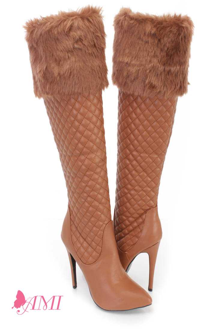 Cognac Faux Fur Cuffed Single Sole High Heel Boots Faux Leather