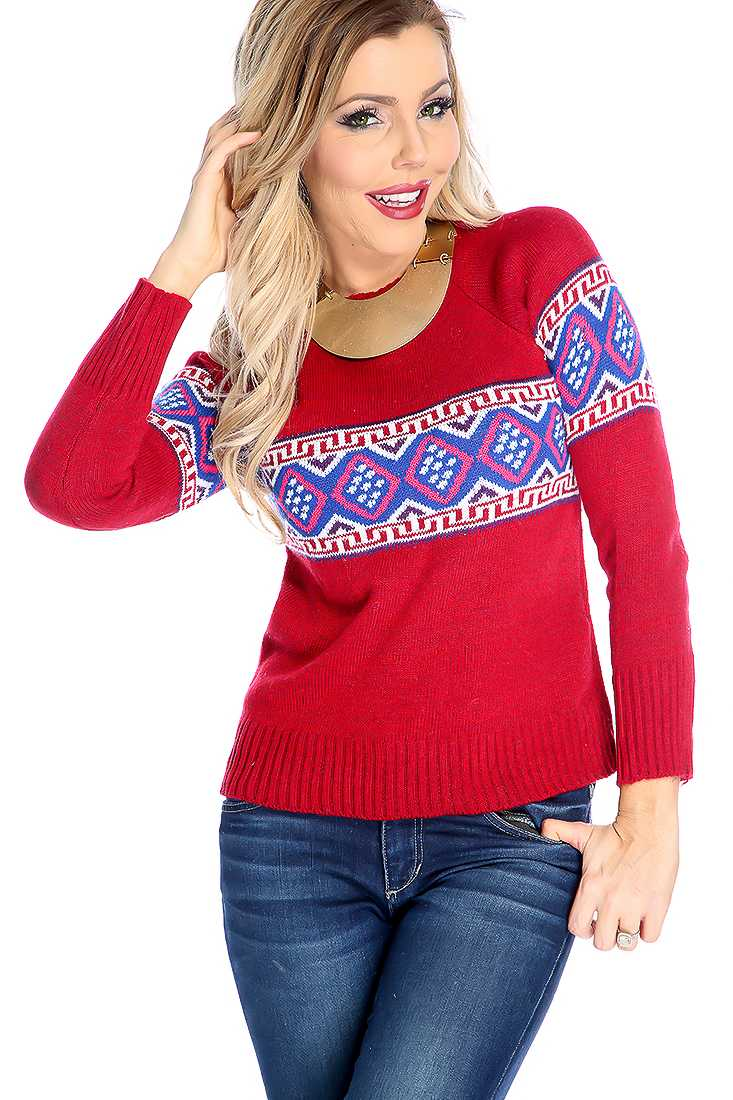 Stylish Wine Long Sleeve Tribal Print Sweater Top