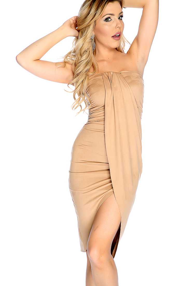 Sexy Khaki Draped Tulip Strapless Party Dress