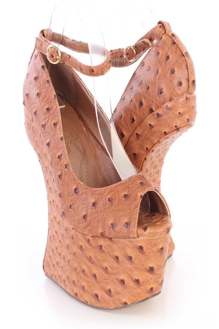 Tan Anti Gravity High Wedges Faux Ostrich Skin