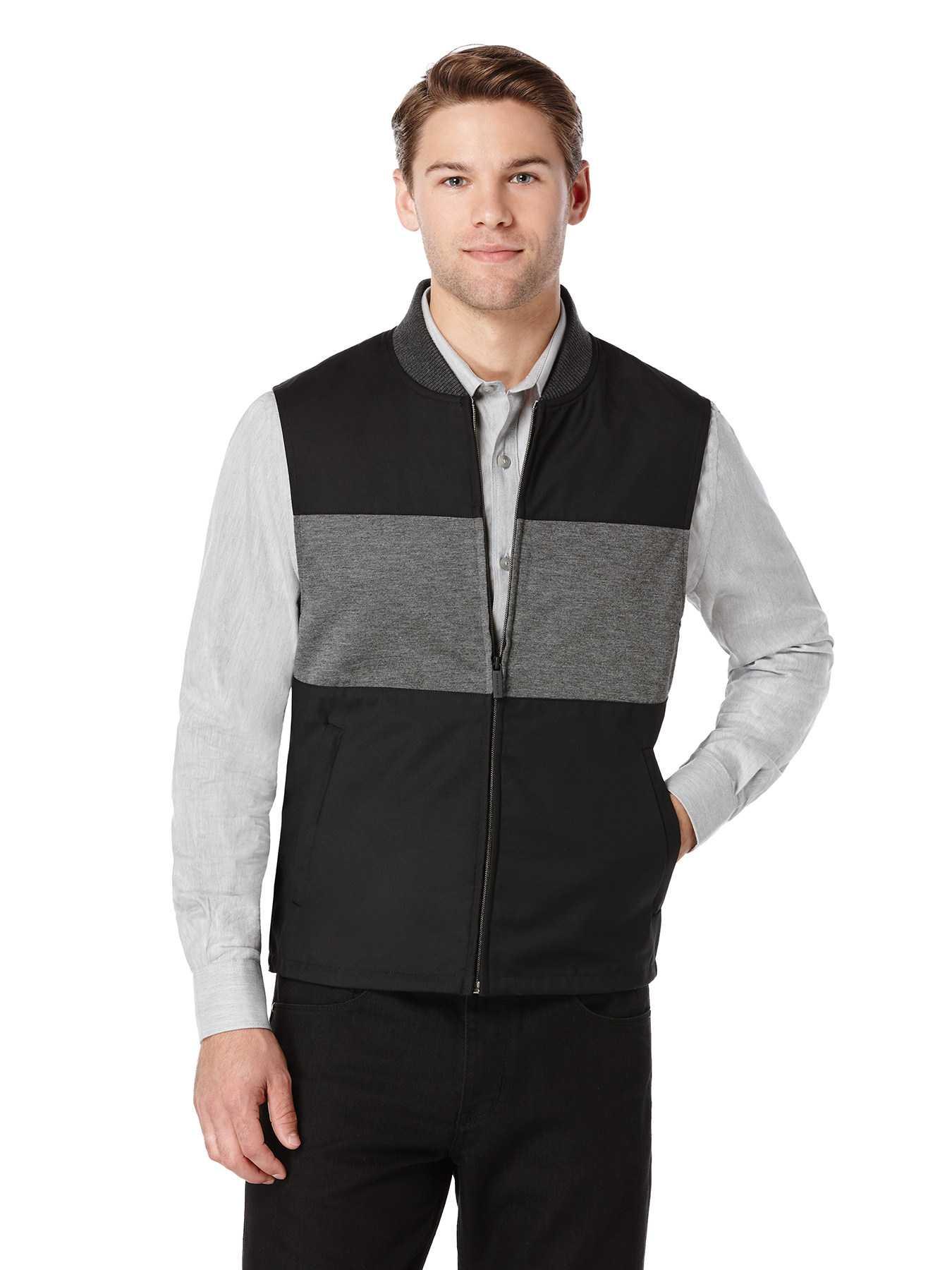 Perry Ellis Colorblock Bonded Knit Vest