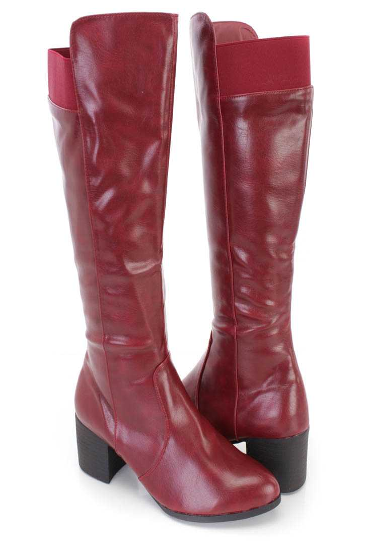 Wine Knee High Chunky Heel Boots Faux Leather