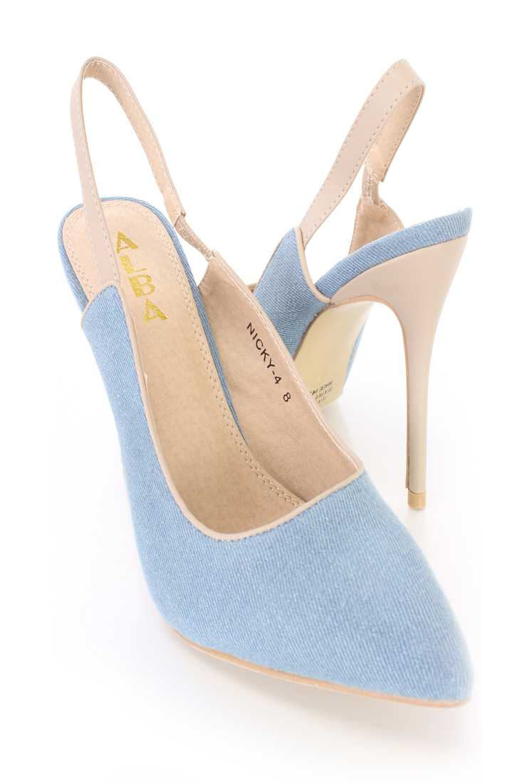 Light Blue Pointed Toe Single Sole Slingback High Heels Denim