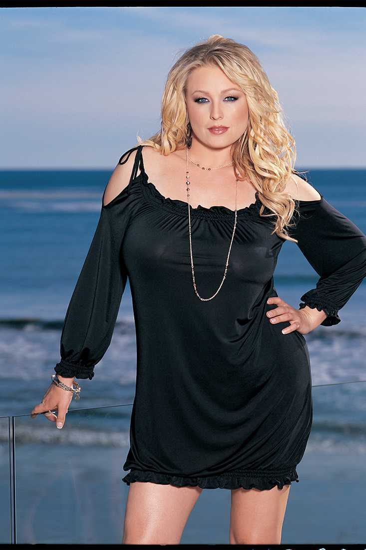 Black Off Shoulder Shirred Knit Plus Size Dress