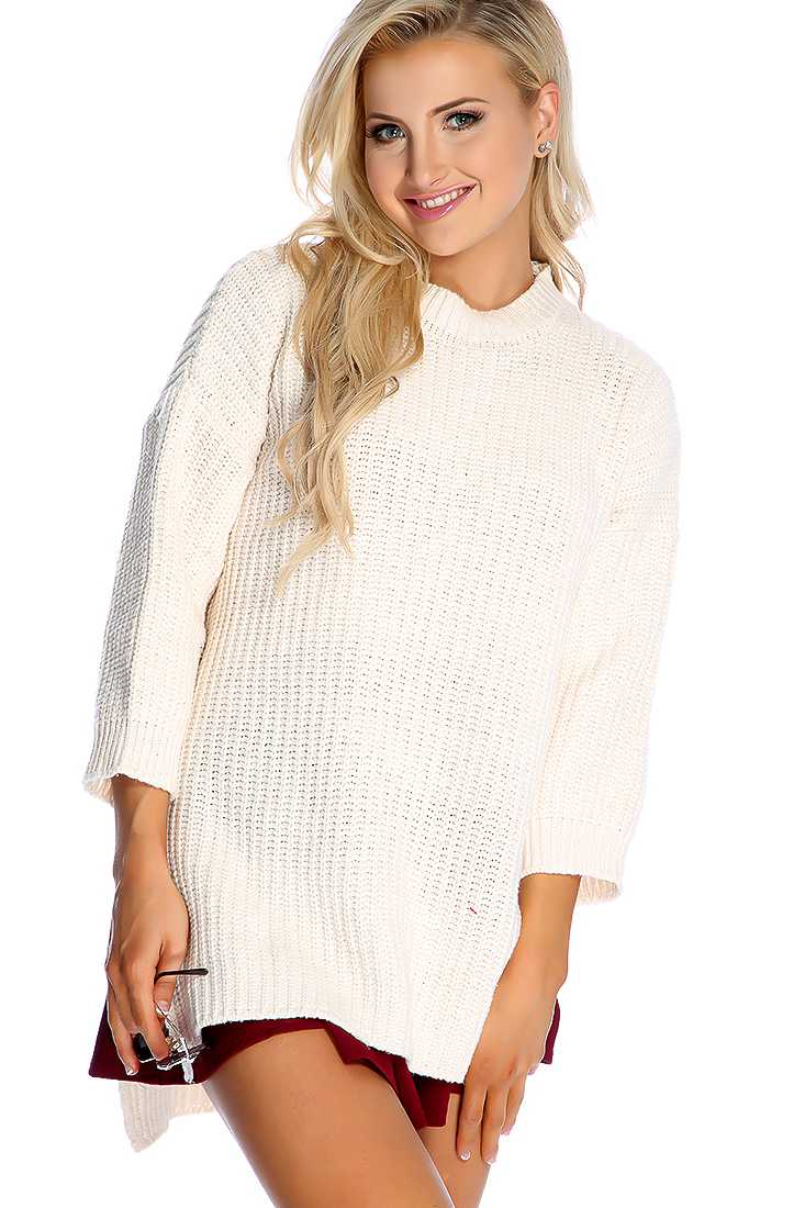 Cream Long Sleeve Open Knit High Low Oversized Sweater