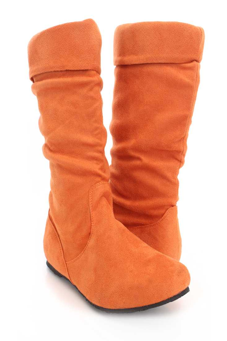 Orange Faux Suede Mid Calf Boots
