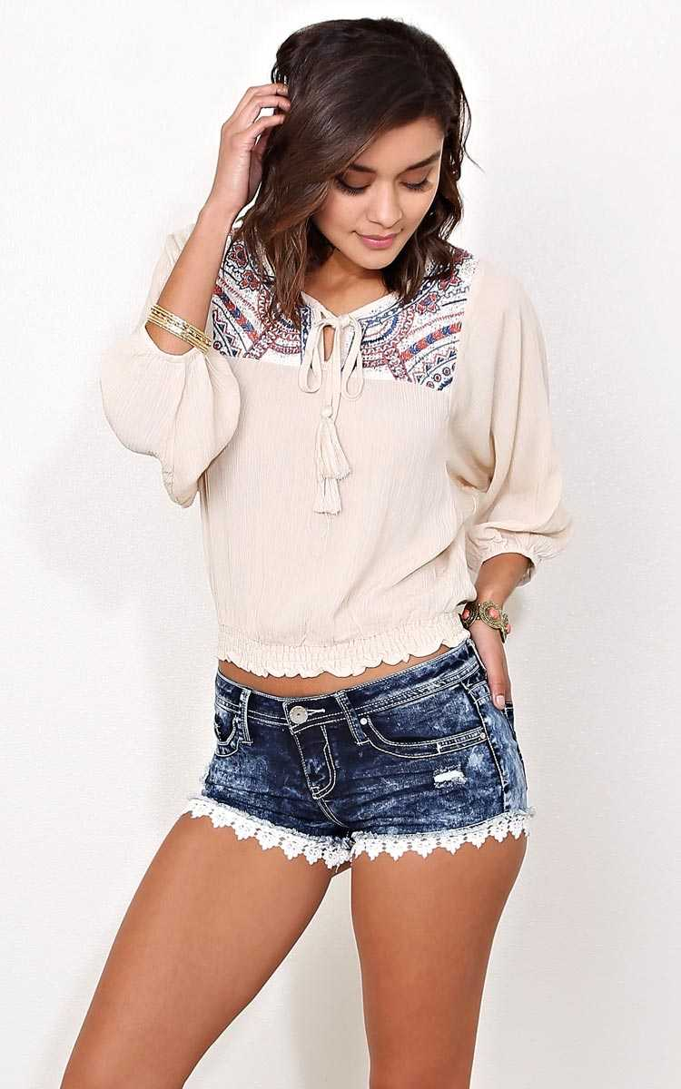 FLYING TOMATO Carissa Peasant Top - LGE - Taupe in Size Large by Styles For Less