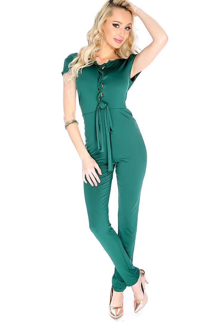 Sexy Green Short Sleeve Lace Up Front Jumpsuit