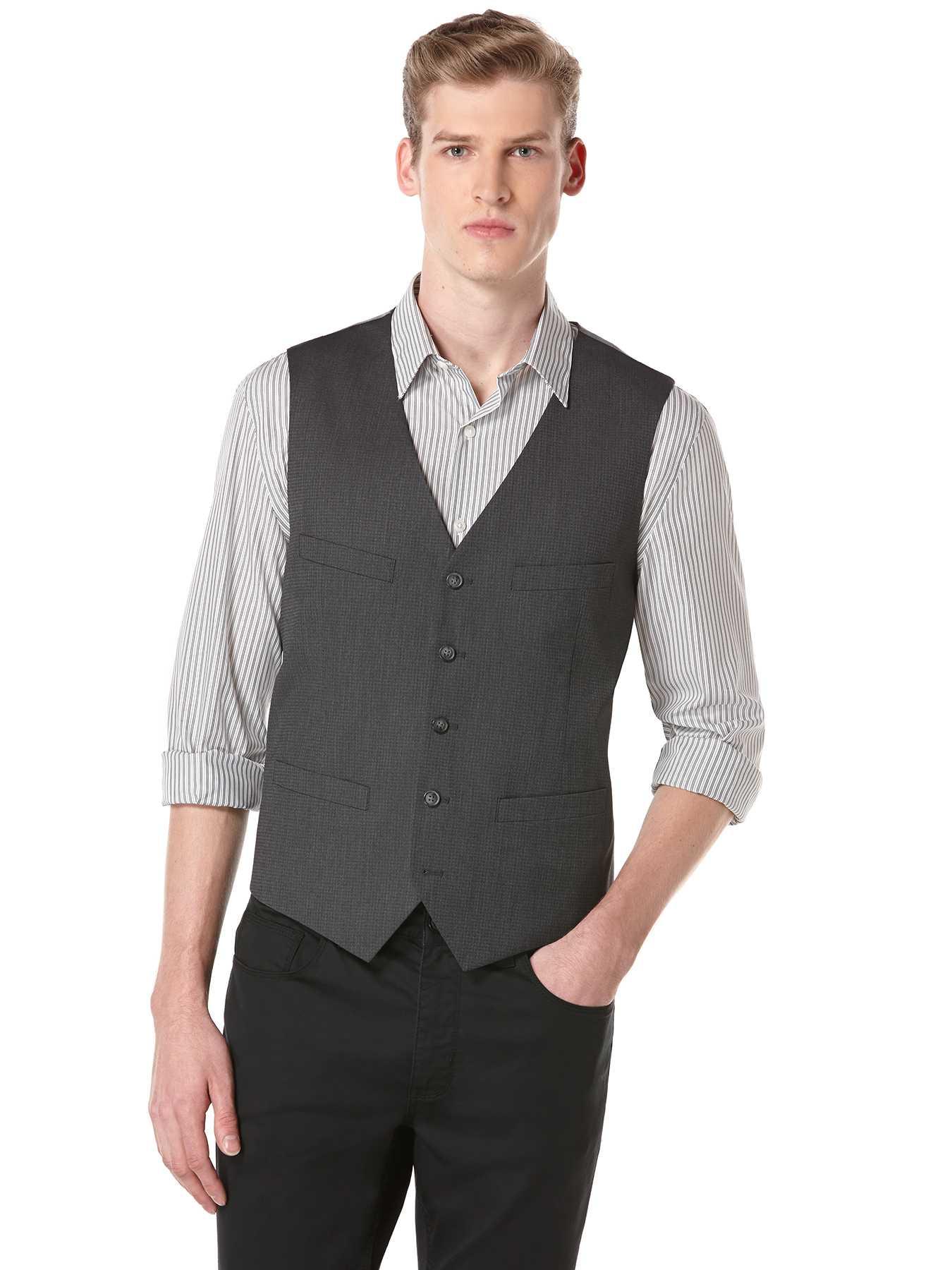 Perry Ellis Mini Houndstooth Suit Vest