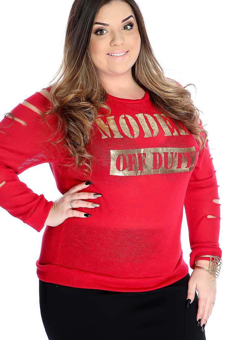 Red Knitted Graphic Print Razor Slits Plus Size Sweater Top