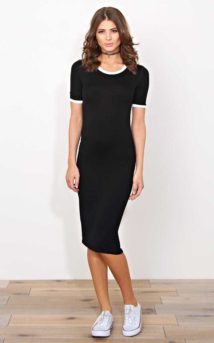 Black Dylann Knit T Shirt Dress - - Black Combo in Size by Styles For Less