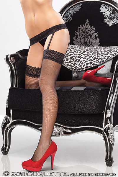Black Fishnet Stocking Attached Garter Belt Hosiery