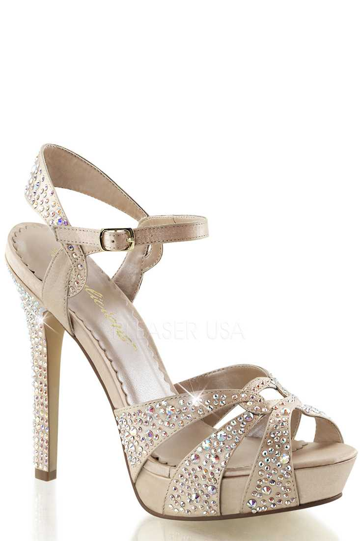 Champagne Rhinestone Embeded High Heels Satin