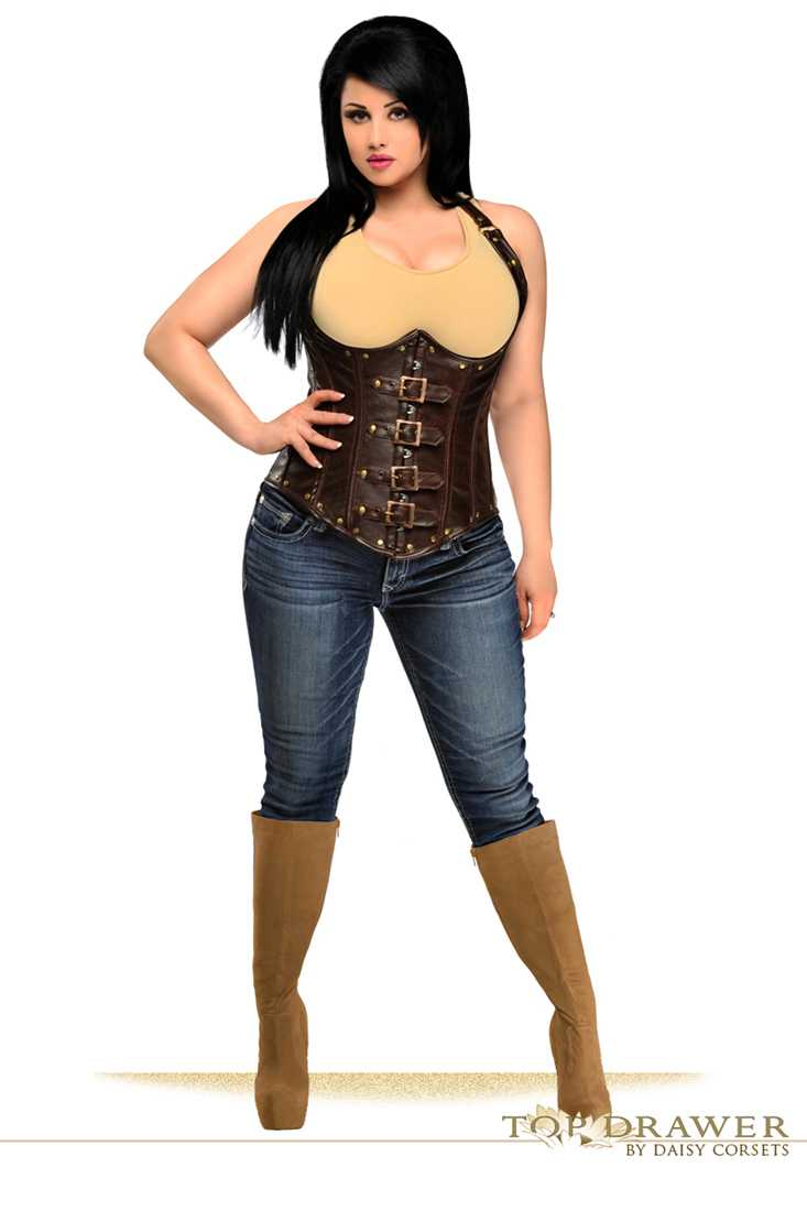 Distressed Brown Plus Size Faux Leather Underbust Corset Top