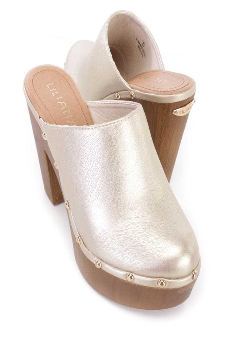 Gold Chunky Heel Slip On Clogs Faux Leather