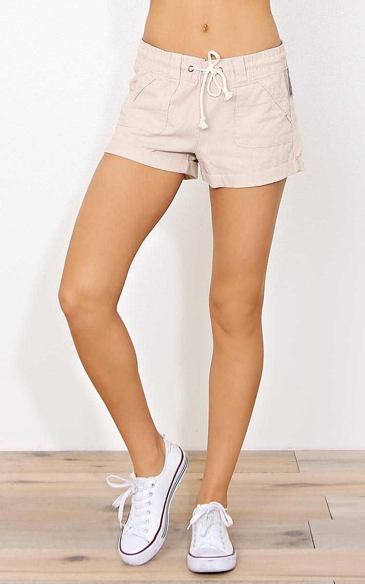 Khaki Seashore Linen Shorts - - Khaki in Size by Styles For Less