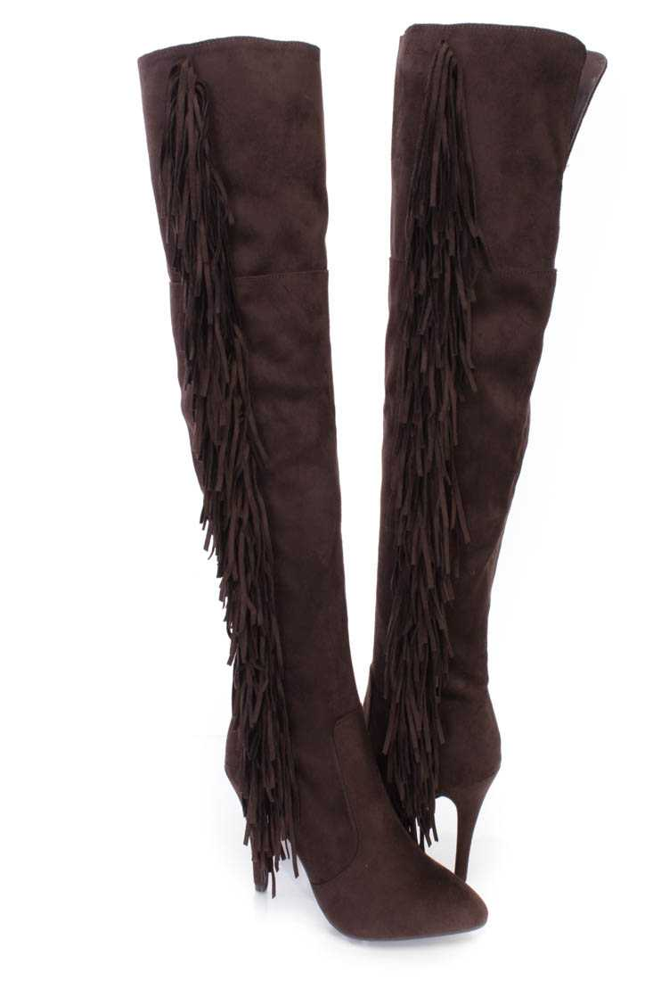 Brown Side Fringe Thigh High Heel Boots Faux Suede