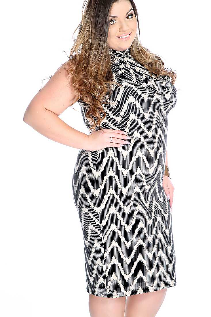 Sexy Beige Black Chevron Cowl Neck Plus Size Party Dress