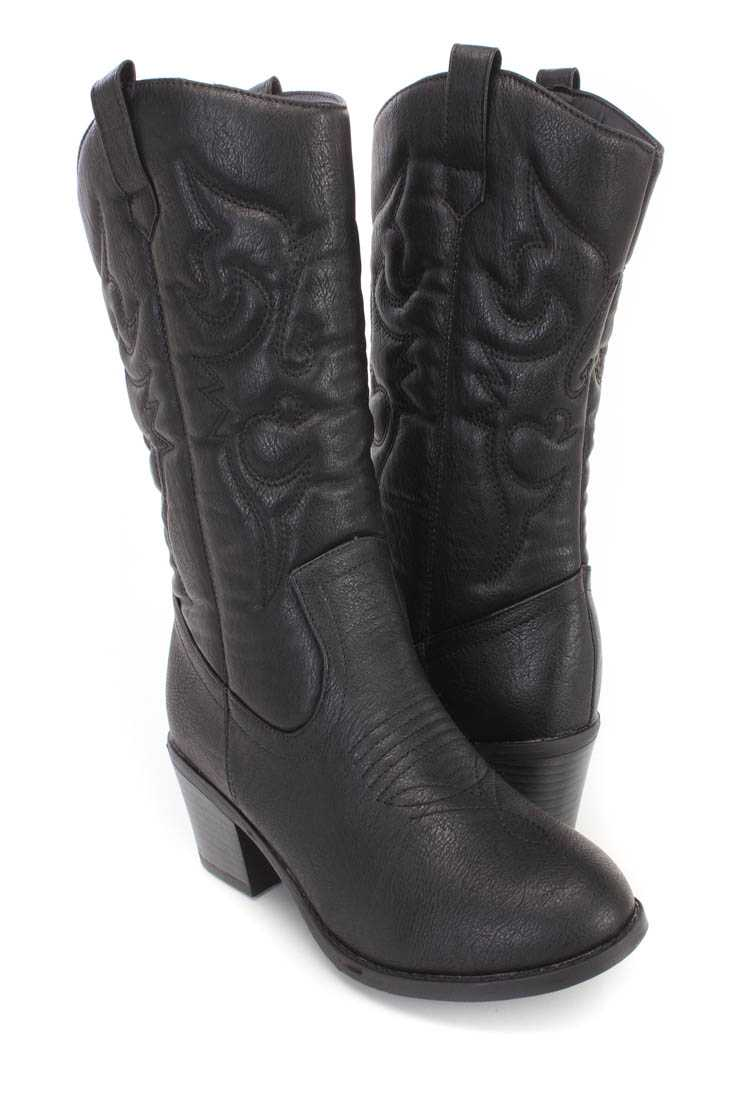 Black Stitching Detailing Cowboy Boots Faux Leather