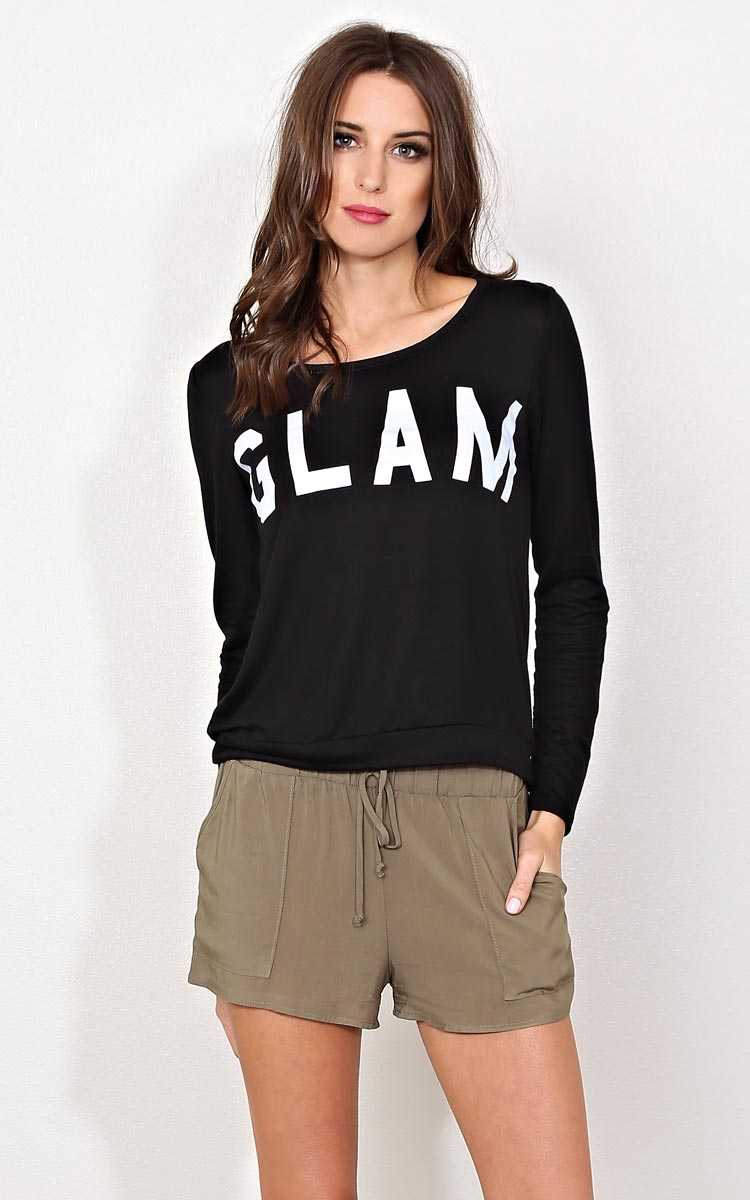 GLAM Graphic Knit Top - - Black/White in Size by Styles For Less